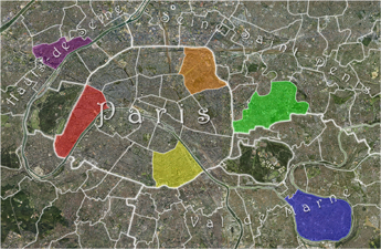 a map of paris and the surrounding suburbs
